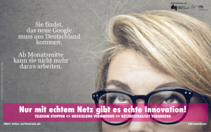 She thinks, the next Google should be built in Germany. In the middle of the month, she cannot work on it any more.