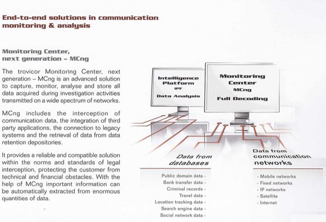 """Trovicor """"Monitoring Centers"""" sind konzipiert, um eine Vielzahl von Daten zu """"erfassen, überwachen, analysieren und speichern""""."""