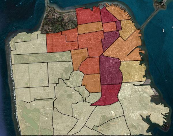 """Big Data at Work: Die """"Mission"""" als Hotspot von """"Rides of Glory"""" in San Francisco. Abbildung: Uber.com"""
