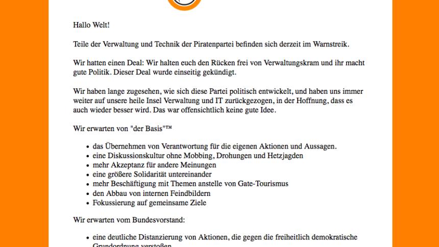 Orgastreik: Admins legen Infrastruktur der Piratenpartei lahm