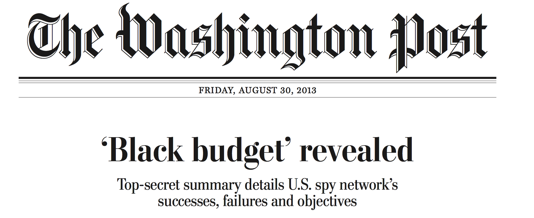 black budget in der WaPo