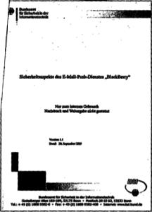 """Deckblatt: Sicherheitsaspekte des E-Mail-Push-Dienstes """"BlackBerry"""""""