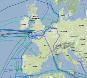Die Glasfaser-Kabel in Europa laut Greg's Cable Map