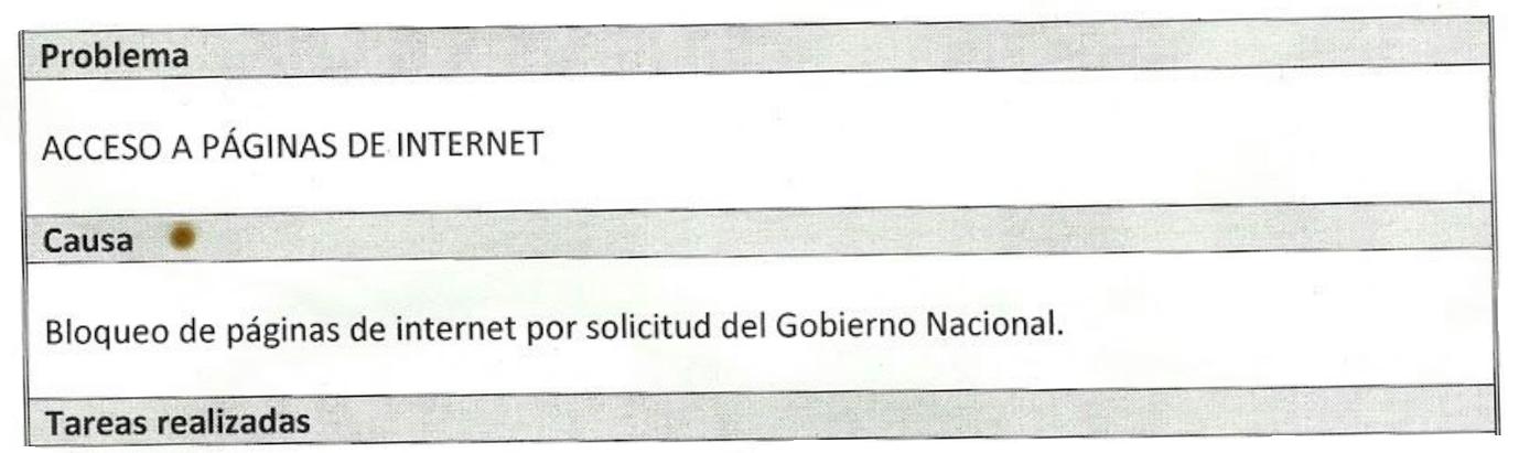 Auszug aus dem Problembericht von Telefonica.