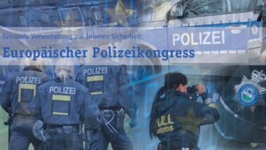 """Flyer zur Verkaufsmesse """"18. Europäischer Polizeikongress"""", die großspurig als """"Europas führende Veranstaltung zur Inneren Sicherheit"""" bezeichnet wird."""