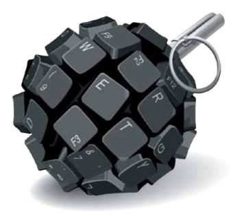 Die Tastatur als Handgranate - Illustration einer Europol-Analyse zu Bedrohungen im Internet.