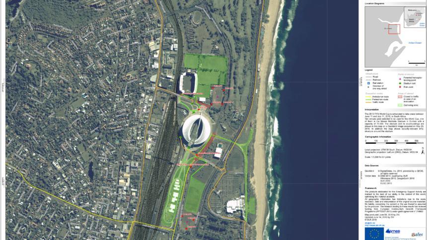 Aufnahme eines Stadions in Südafrika vom EU-Satellitenzentrum EUSC und dem deutschen DLR.
