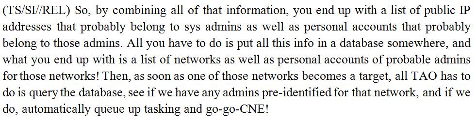 NSA Admin CNE