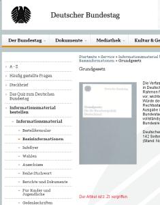 Zum Glück gibt's das Internet: Das gedruckte Grundgesetz ist gerade leider aus. Screenshot: bundestag.de (Stand: 28.05.2015)
