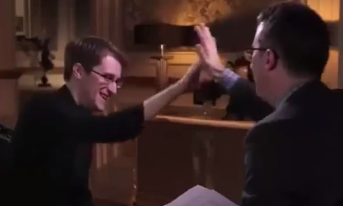 john-oliver-edward-snowden-high-five