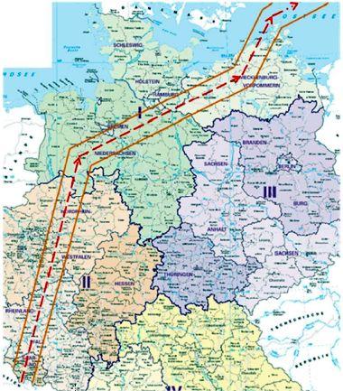 Der von der US-Luftwaffe beantragte Korridor über deutschen Bundesländern. (Bild: BMVg)