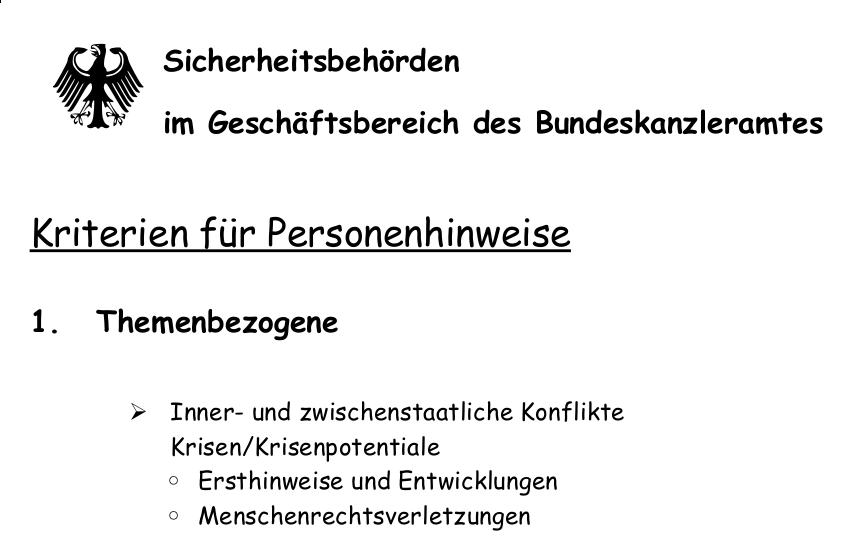 Auszug aus dem Kriterienkatalog der HBW (Replika)