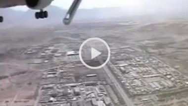 """Beinahe-Crash einer """"LUNA"""" mit einem Passagierflugzeug über Kabul im Jahr 2004. Die Drohne absolvierte danach eine """"systemkonforme Landung"""" in Form eines Totalschadens"""