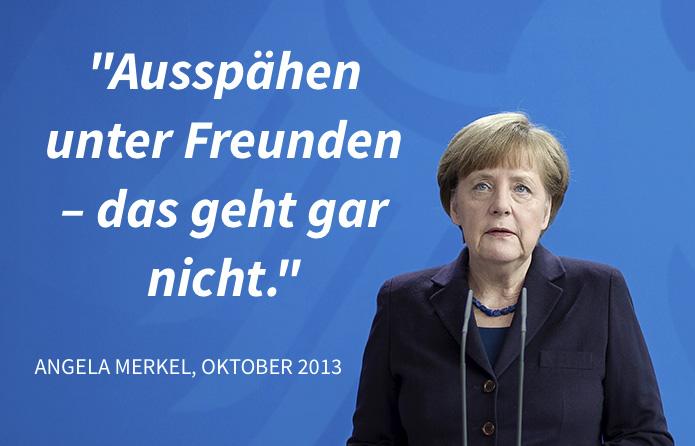 """""""Ausspähen unter Freunden – das geht gar nicht."""" Angela Merkel im Oktober 2013"""