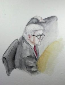 Zeuge Steinmeier bei seiner Anhörung. Zeichung: Stella Schiffczyk