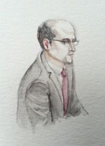 Zeuge Folker Berfuß bei seiner Anhörung. Zeichnung: Stella Schiffczyk