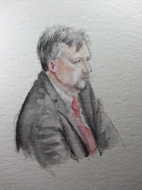 Zeuge Ulrich Berzen während seiner Anhörung. Zeichnung: Stella Schiffczyk