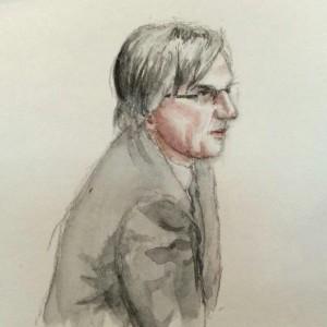 Zeuge Dirk Brengelmann bei seiner Anhörung. Zeichnung: Stella Schiffczyk