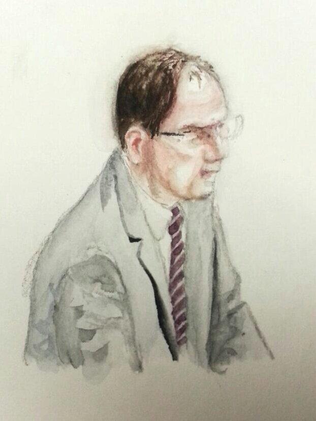 Zeuge D.B. bei seiner Anhörung. Zeichnung: Stella Schiffczyk