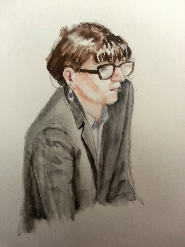 Zeugin Doreen Dehmdahl bei ihrer Anhörung. Zeichnung: Stella Schiffczyk