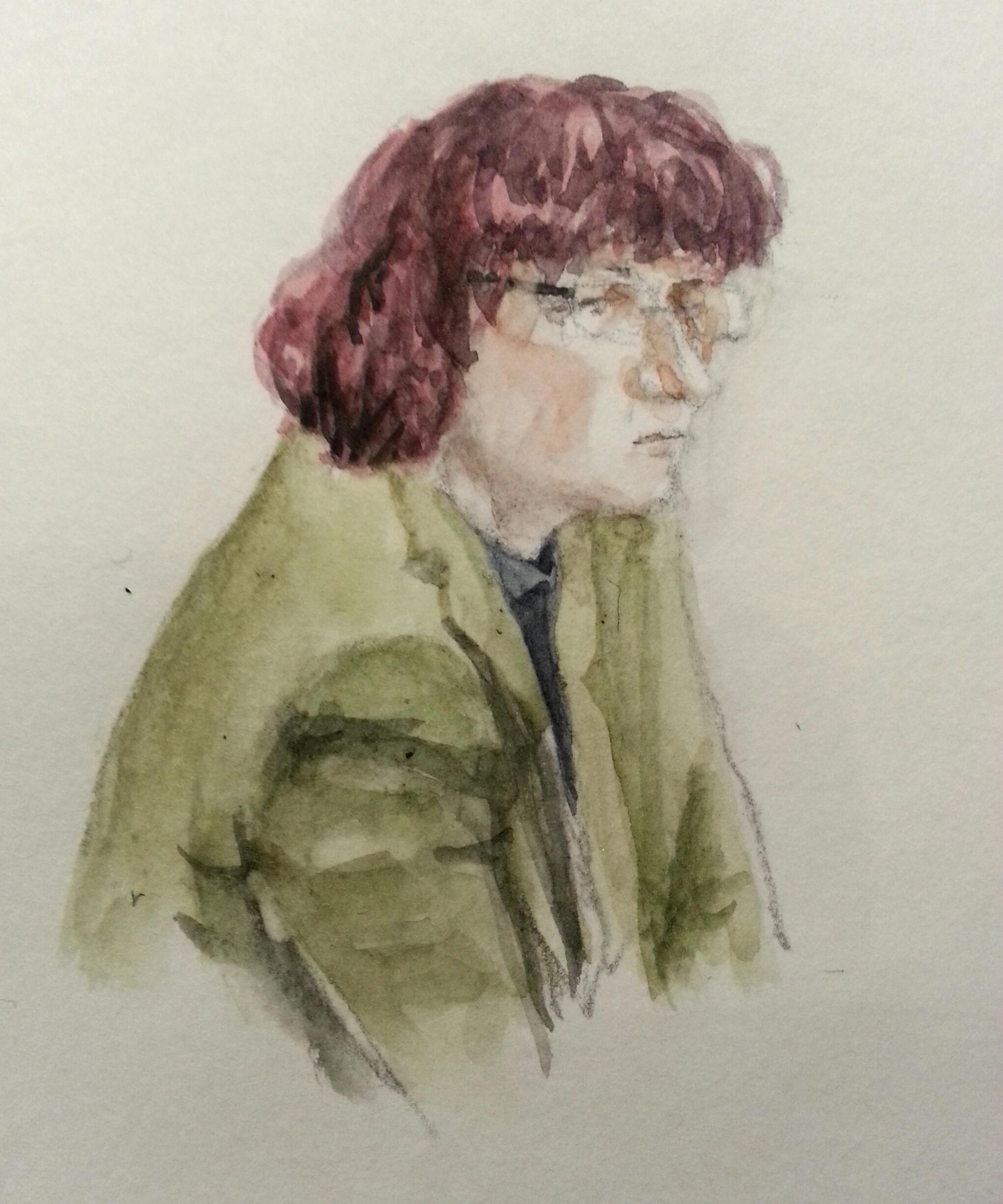 Zeugin Frau K. bei ihrer Anhörung. Zeichnung: Stella Schiffczyk.