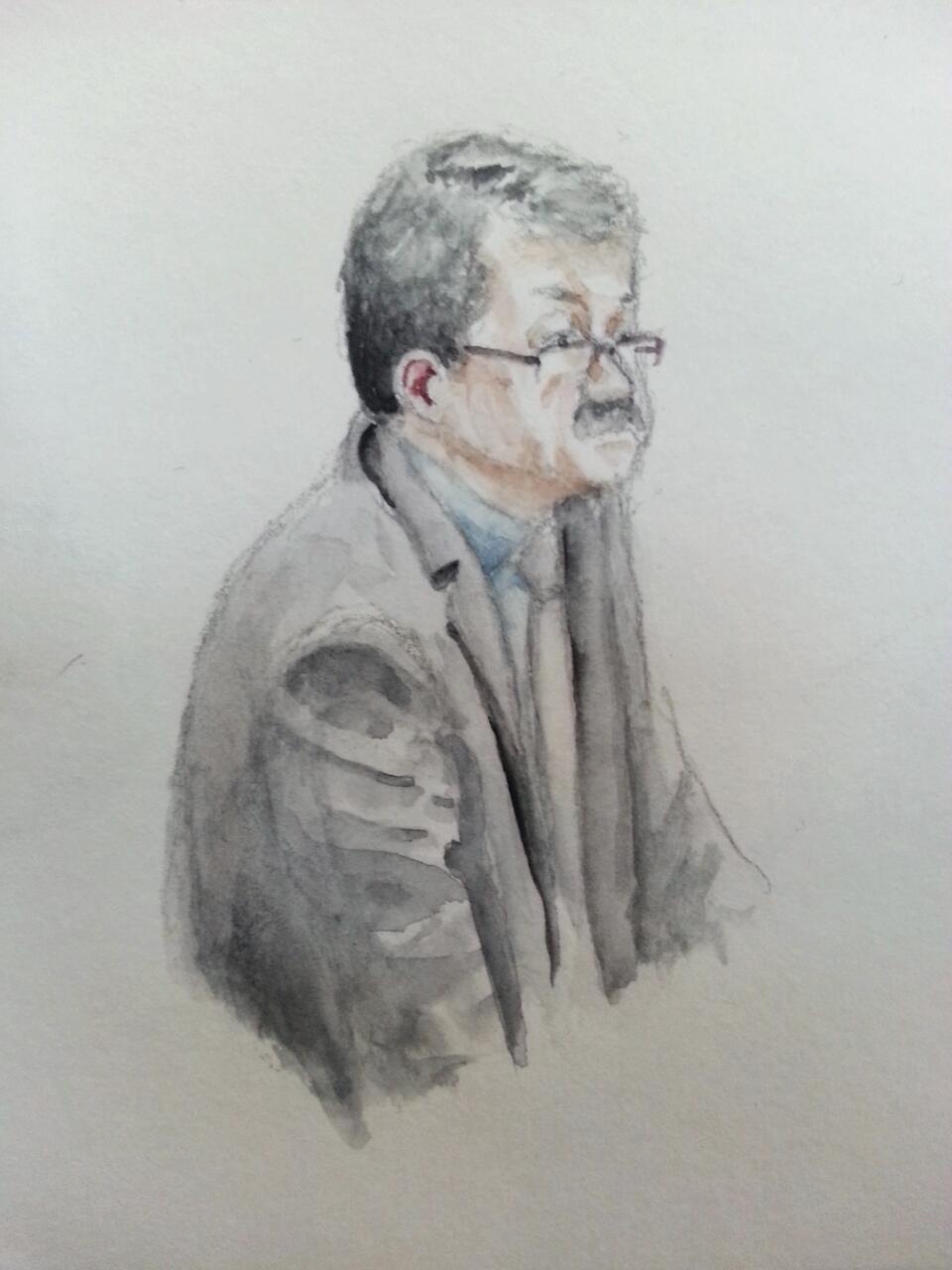 H.K. während seiner Anhörung. Zeichnung: Stella Schiffczyk