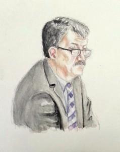 Zeuge H.K. während seiner Anhörung. Zeichnung: Stella Schiffczyk