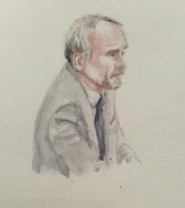 Zeuge J.S. bei seiner Anhörung. Zeichnung: Stella Schiffczyk.