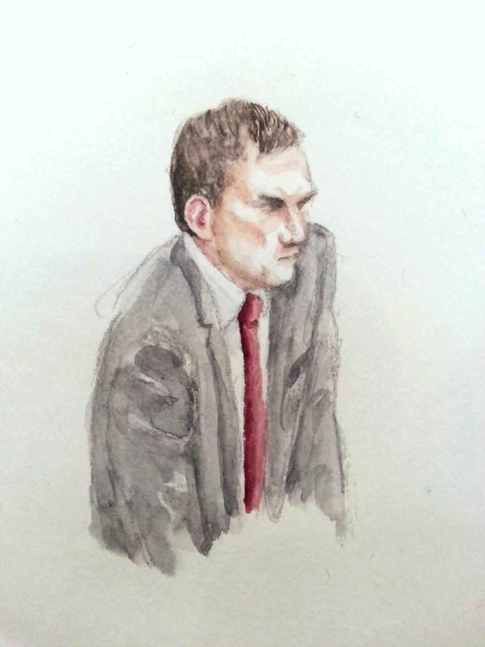 Zeuge Albert Karl bei seiner Anhörung. Zeichnung: Stella Schiffczyk.