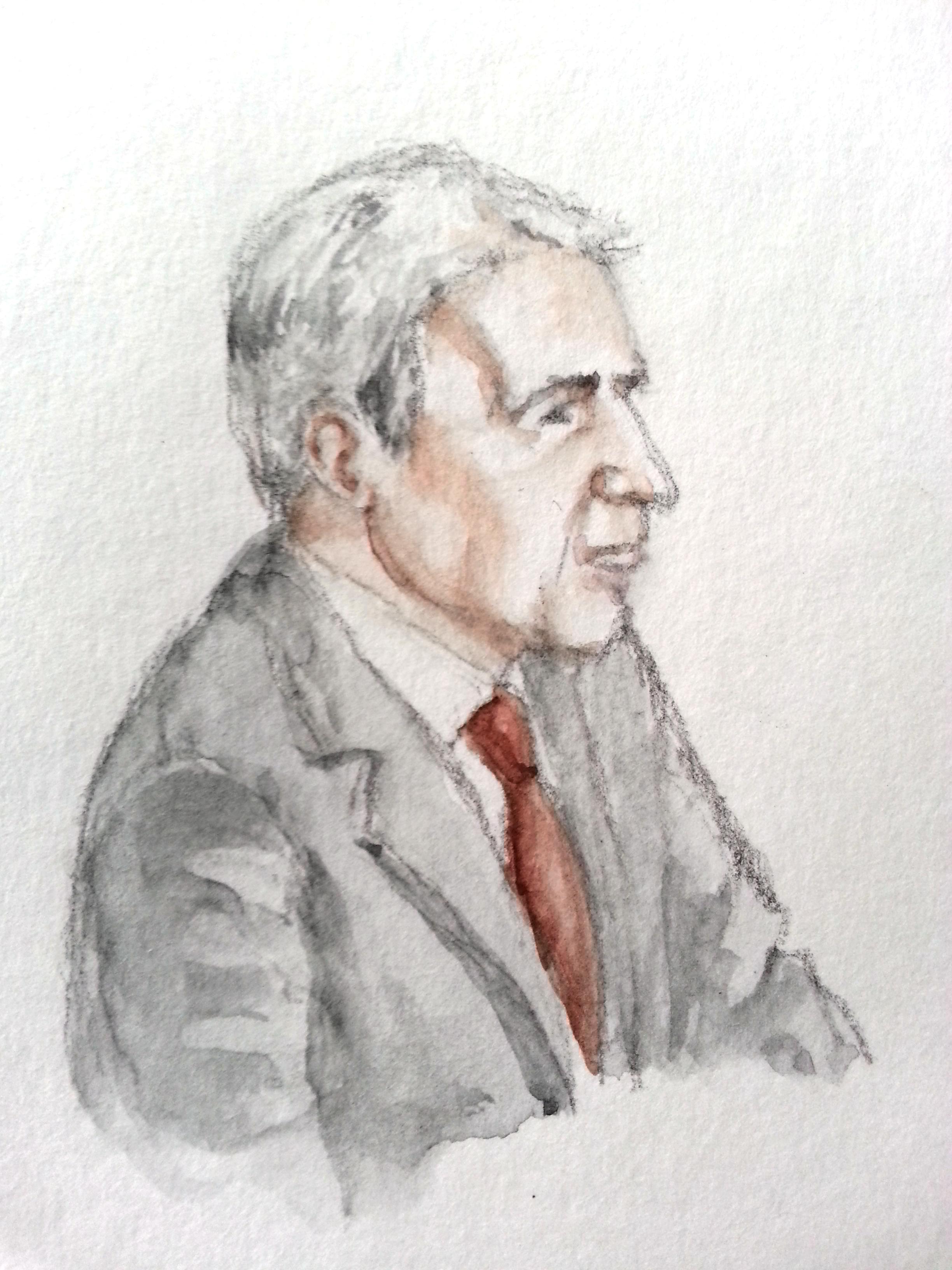 Sachverständiger Kurt Graulich bei seiner Anhörung. Zeichnung: Stella Schiffczyk