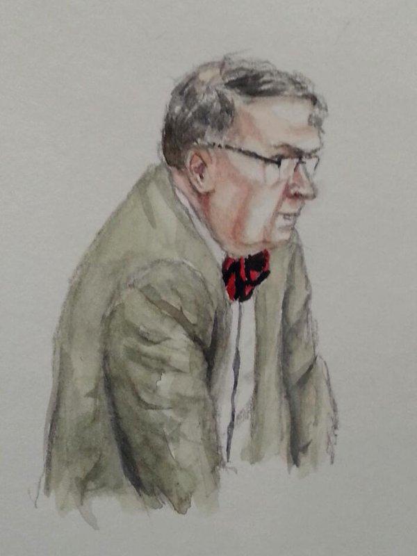 Michael Koch während seiner Anhörung. Zeichnung: Stella Schiffczyk