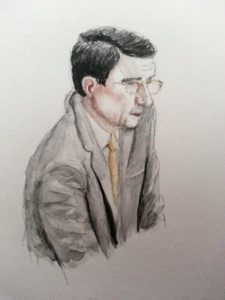 Zeuge Martin Ney bei seiner Anhörung. Zeichnung: Stella Schiffczyk