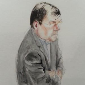Zeuge Alois Nöbauer bei seiner Anhörung. Zeichnung: Stella Schiffczyk.