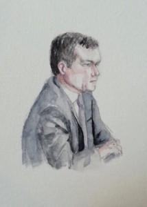 Zeuge Klaus Rogner bei seiner Anhörung. Zeichnung: Stella Schiffczyk