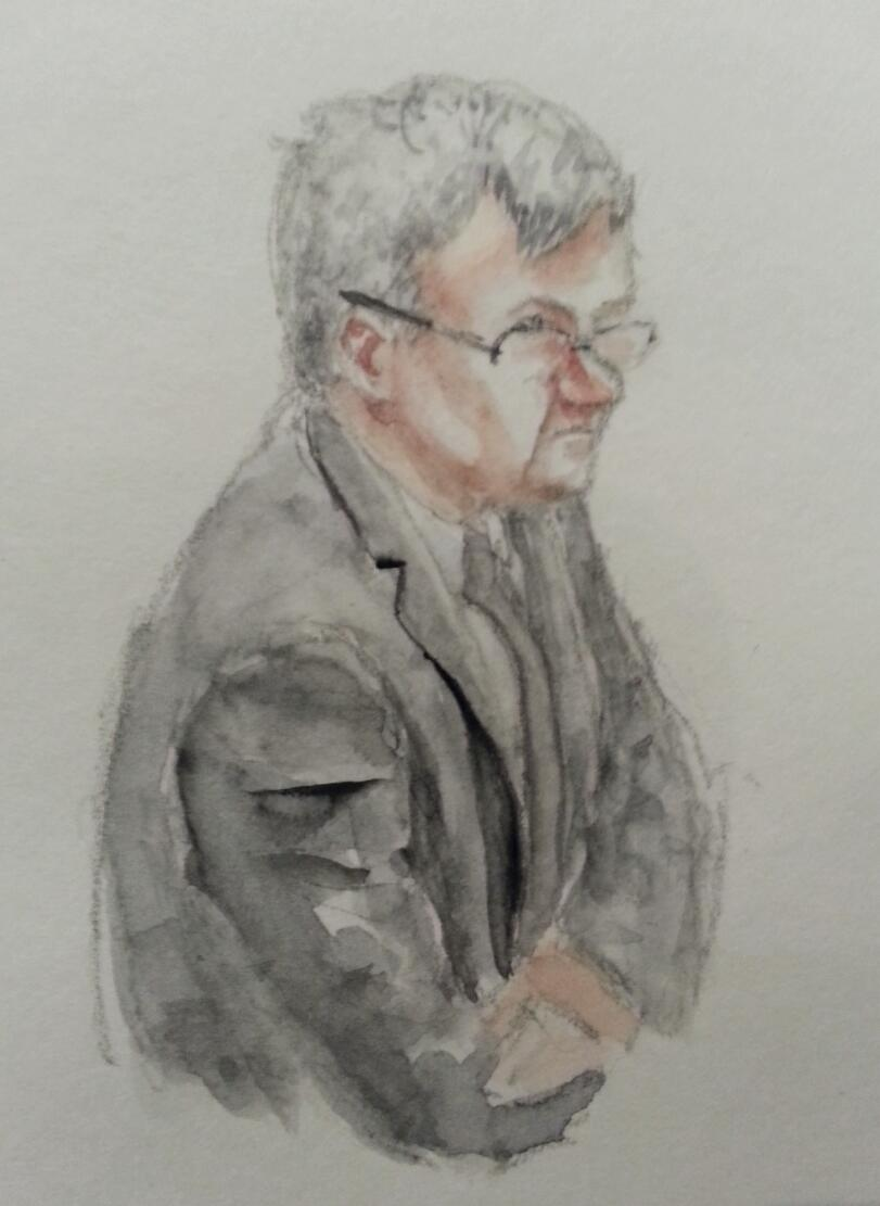 Zeuge Jürgen Schulz während seiner Anhörung. Zeichnung: Stella Schiffczyk