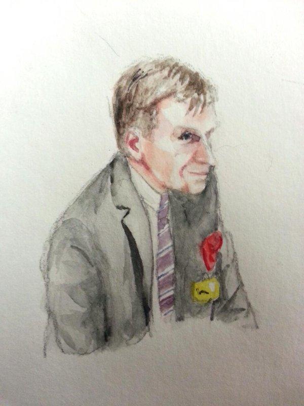 Zeuge Stefan Sohm bei seiner Anhörung. Zeichnung: Stella Schiffczyk