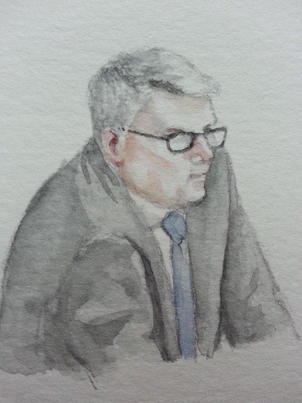 Zeuge André Treuenfels während seiner Anhörung. Zeichnung: Stella Schiffczyk