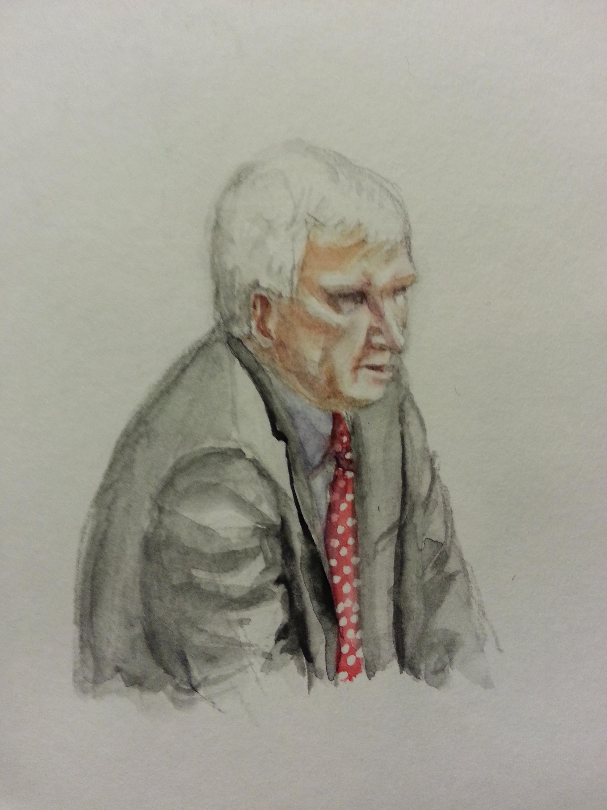 Zeuge Ernst Uhrlau während seiner Anhörung. Zeichnung: Stella Schiffczyk