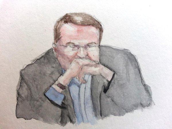 Zeuge Dieter Urmann während seiner Anhörung. Zeichnung: Stella Schiffcyzk