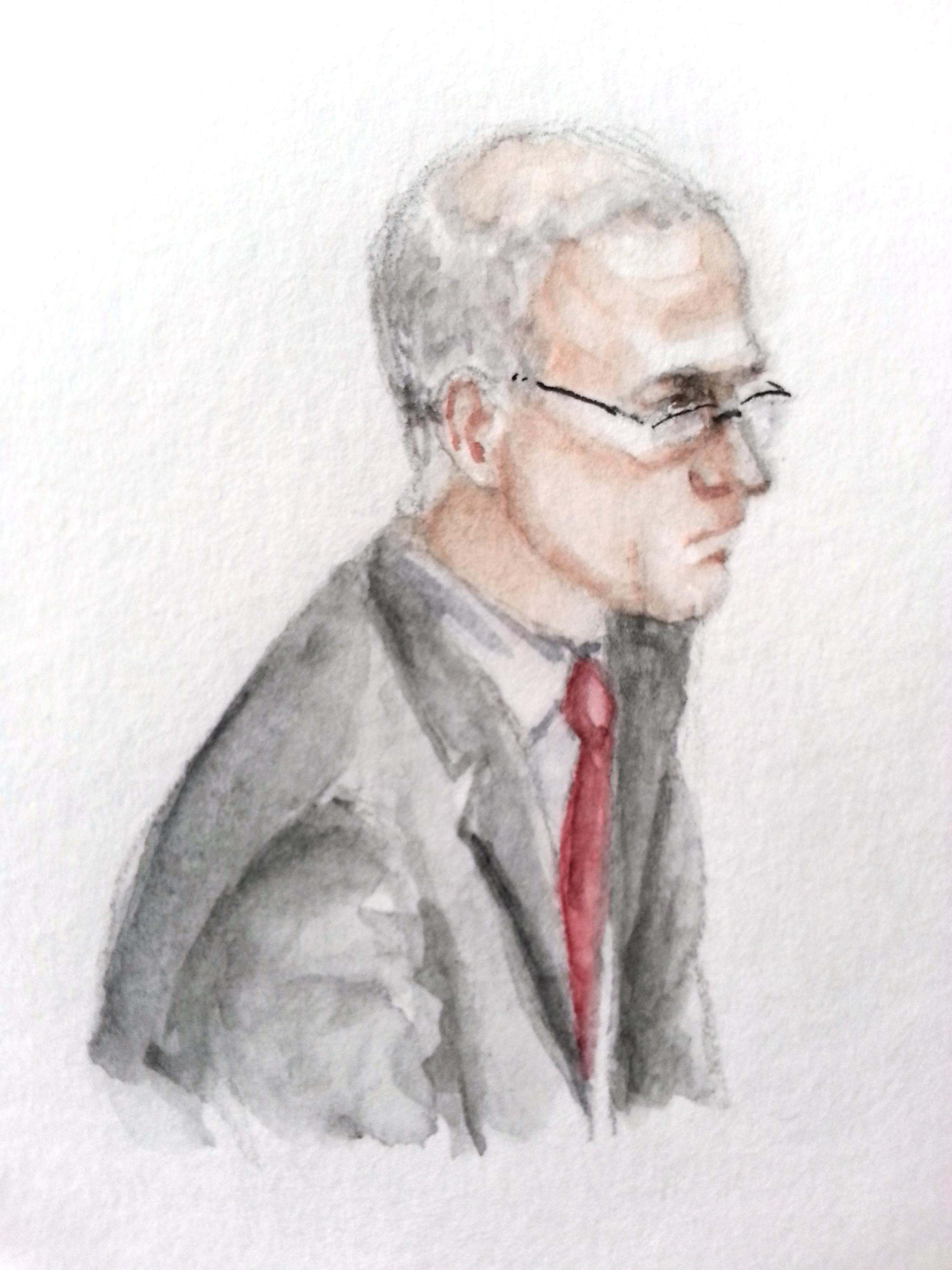 Zeuge Werner Ader bei seiner Anhörung. Zeichnung: Stella Schiffczyk