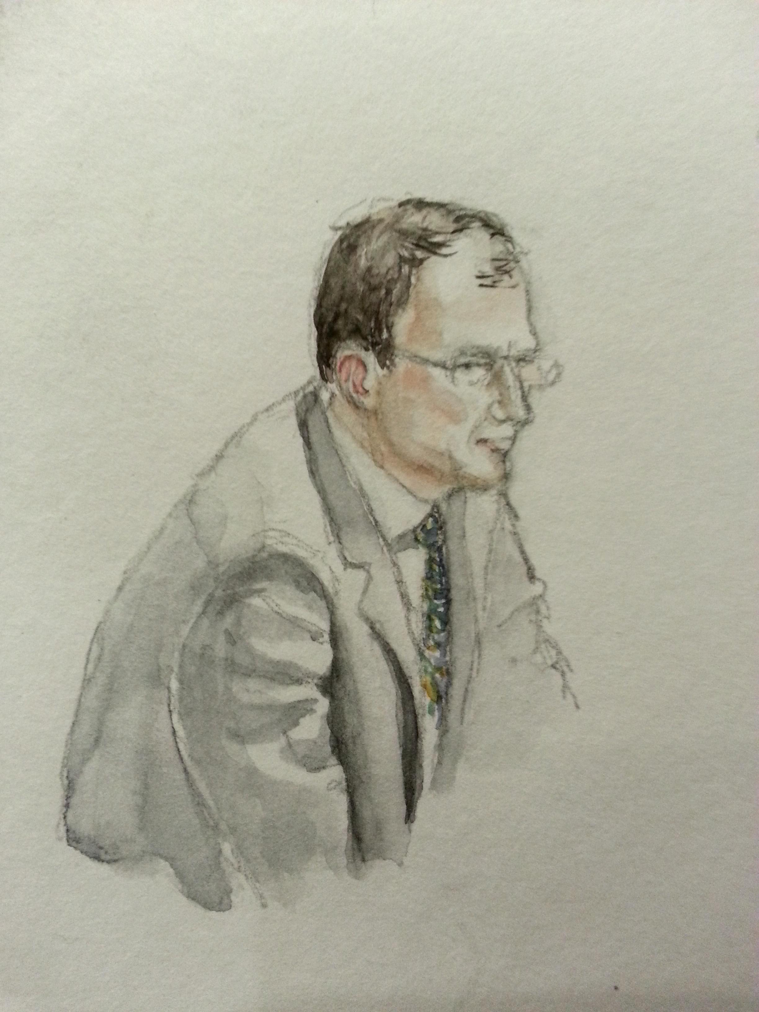 """Zeuge """"D.B."""" bei seiner Anhörung. Zeichnung: Stella Schiffczyk"""