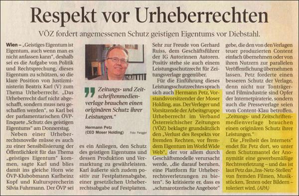 Tiroler Tageszeitung, 27.4.2012 (Quelle: dietiwag.org