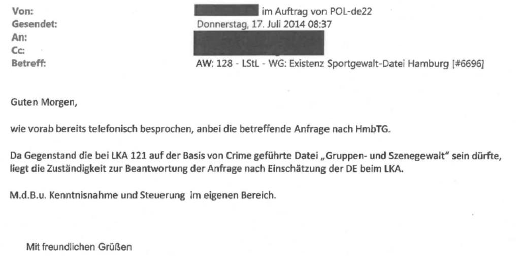 Interne E-Mail der Polizei Hamburg