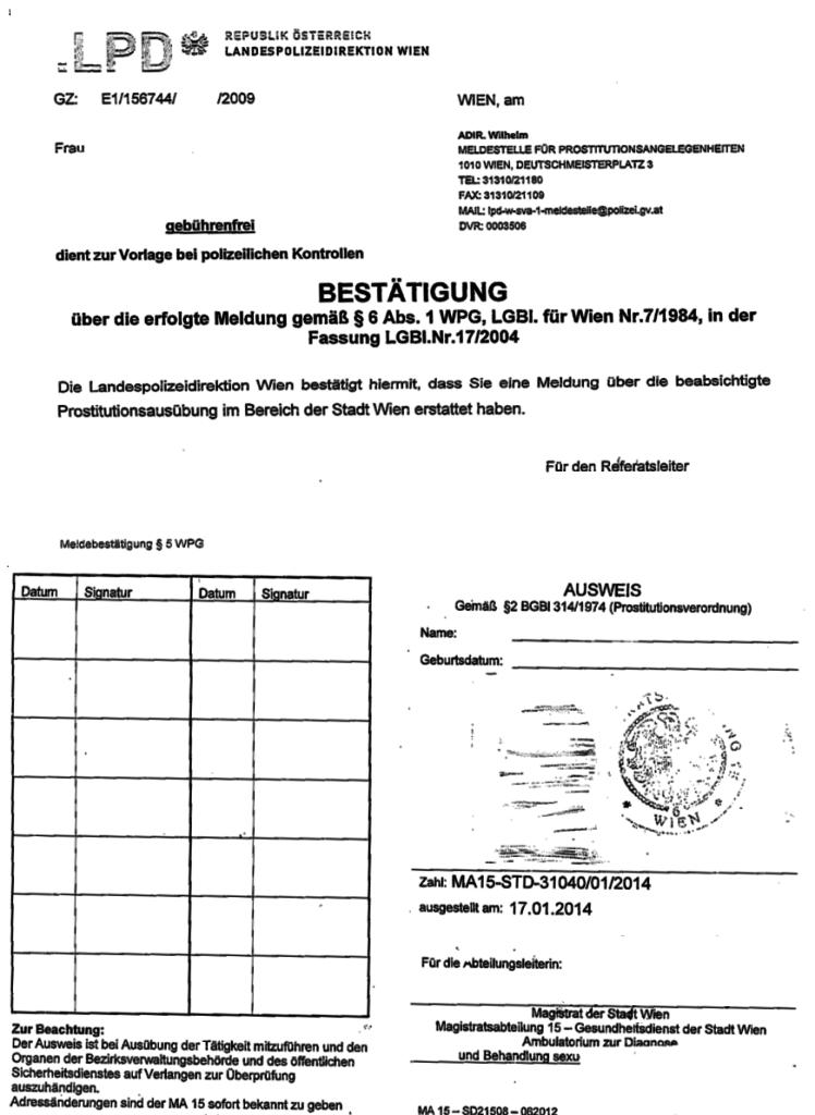 Ausweis für Sexarbeiter*innen aus Österreich