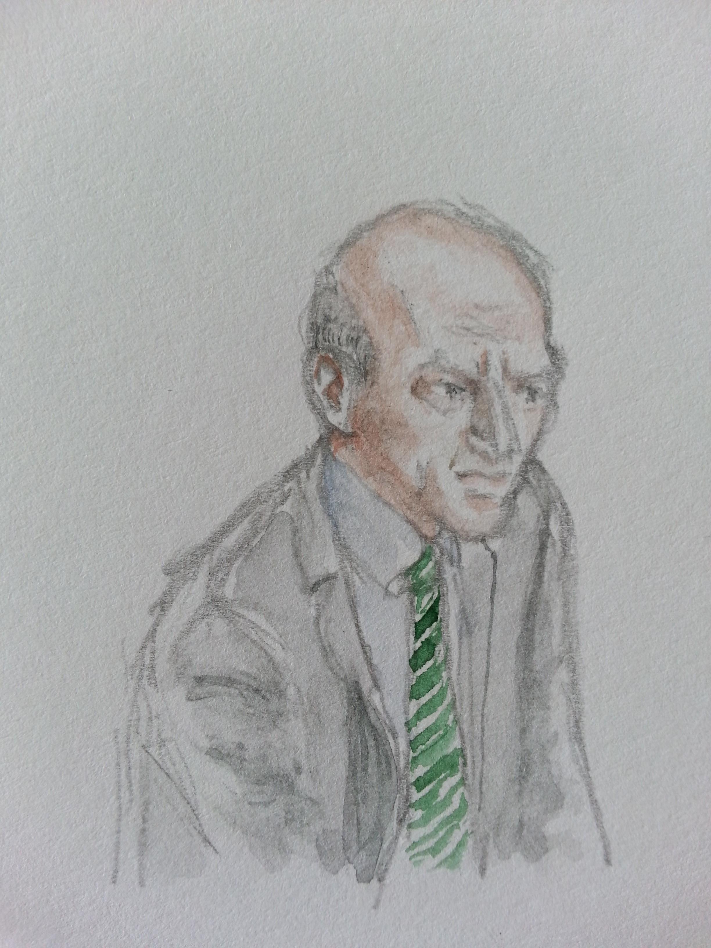 BND-Präsident Gerhard Schindler bei seiner Anhörung. Zeichnung: Stelle Schiffczyk.