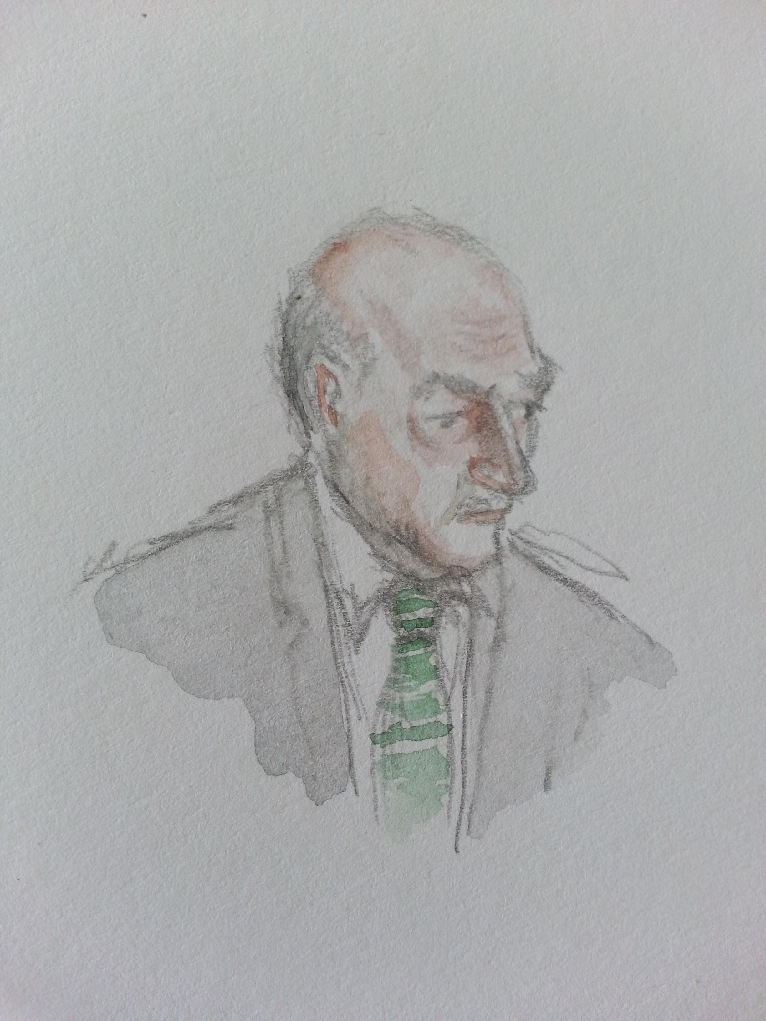 BND-Präsident Gerhard Schindler bei seiner Anhörung. Zeichnung: Stella Schiffczyk.