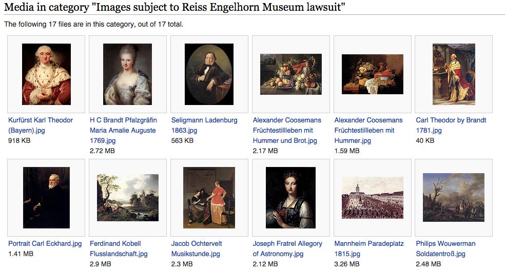 Bei Wikimedia Commons gibt es iinzwischen eine eigene Kategorie für Bilder, die vom Rechtsstreit mit den Reiss-Engelhorn-Museen betroffen sind (Screenshot)