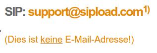 SIP- und E-Mail-Adressen verwechseln: Graulich ist nicht allein - via Supportseite von sipload.de