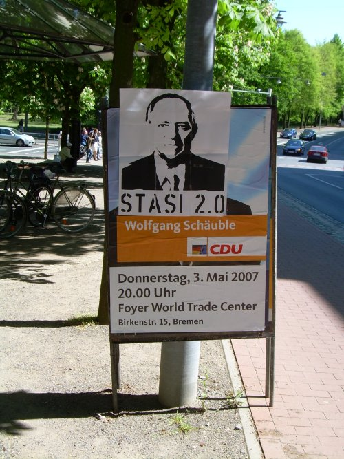 Stasi-2.0 Bremen Schäuble-Plakat