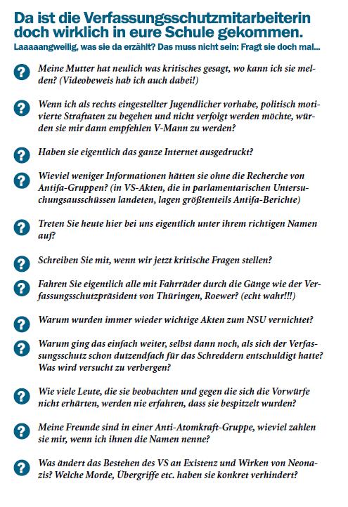 """Wenn es dann doch passiert ist: Mögliche Fragen an die Geheimdienstlerin im Unterricht der Berliner Zeitschrift """"Straßen aus Zucker""""."""